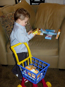 Joey with his new shopping cart and play food