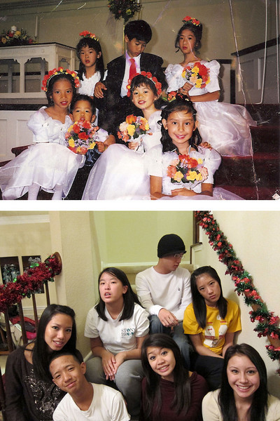 We kept a picture of the kids from 13 years ago at Chanh and Amy's wedding, and now, reenacting their original expressions.