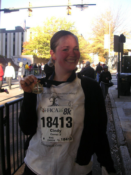Awesome Cindy after the Richmond 8K, 11/13/2010.