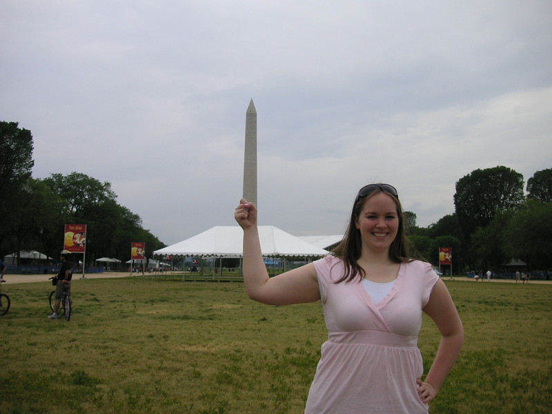Cindy with a grip on the Washington Monument