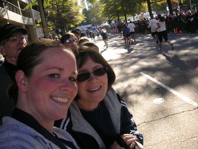 Cindy and Vickie waiting for Chris and Bob to finish half-marathon (Richmond 11/13/2010)