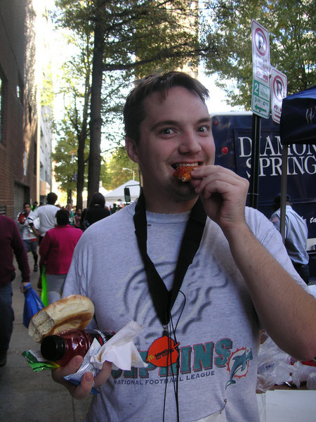 "Chris enjoying the ""fruits"" (and chocolate) of success after the race (Richmond half-marathon 11/13/2010)."