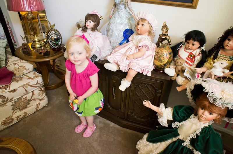 Katie meets Great Grandma Ackers' dolls