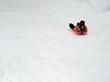 "Elias sledding down ""first hill"""