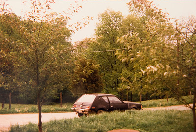 I bought this flat-black 1973 AMC Gremlin in 1984 and ran out of gas on the way home. It would be a very fun car that would get me through high school and college (including a summer in Georgia) and then finally to my first apartment in Syracuse where it rapidly degraded with a smoking habit from some kind of oil leak in the engine.  I signed away the title in 1991 rather than pay the towing fee. I miss it.  Black was not the car's original color...that was orange and turquoise.  Oh how I miss it.