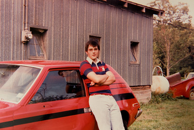 With help from my dad, I painted the Gremlin red and black. It was a bit too warm the day I painted it, so it developed an orange-peel texture. I didn't care. I liked my red car that my uncle Mike called a deathtrap. Indiana didn't have automobile inspection requirements then (or now!) so things like mirrors really were optional.
