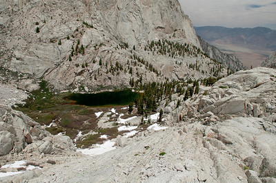 Looking down on Mirror Lake and the last of the trees