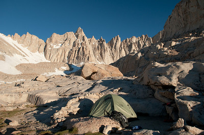 Sunrise on the Whitney Peaks over our camp