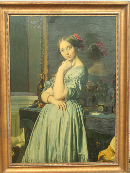 woman with red bow (painter?)