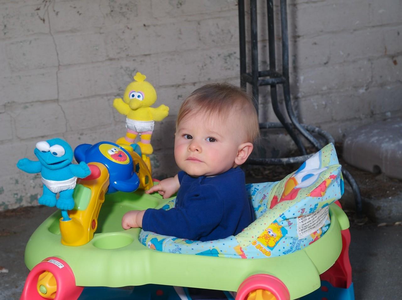 Cody outside in his walker.