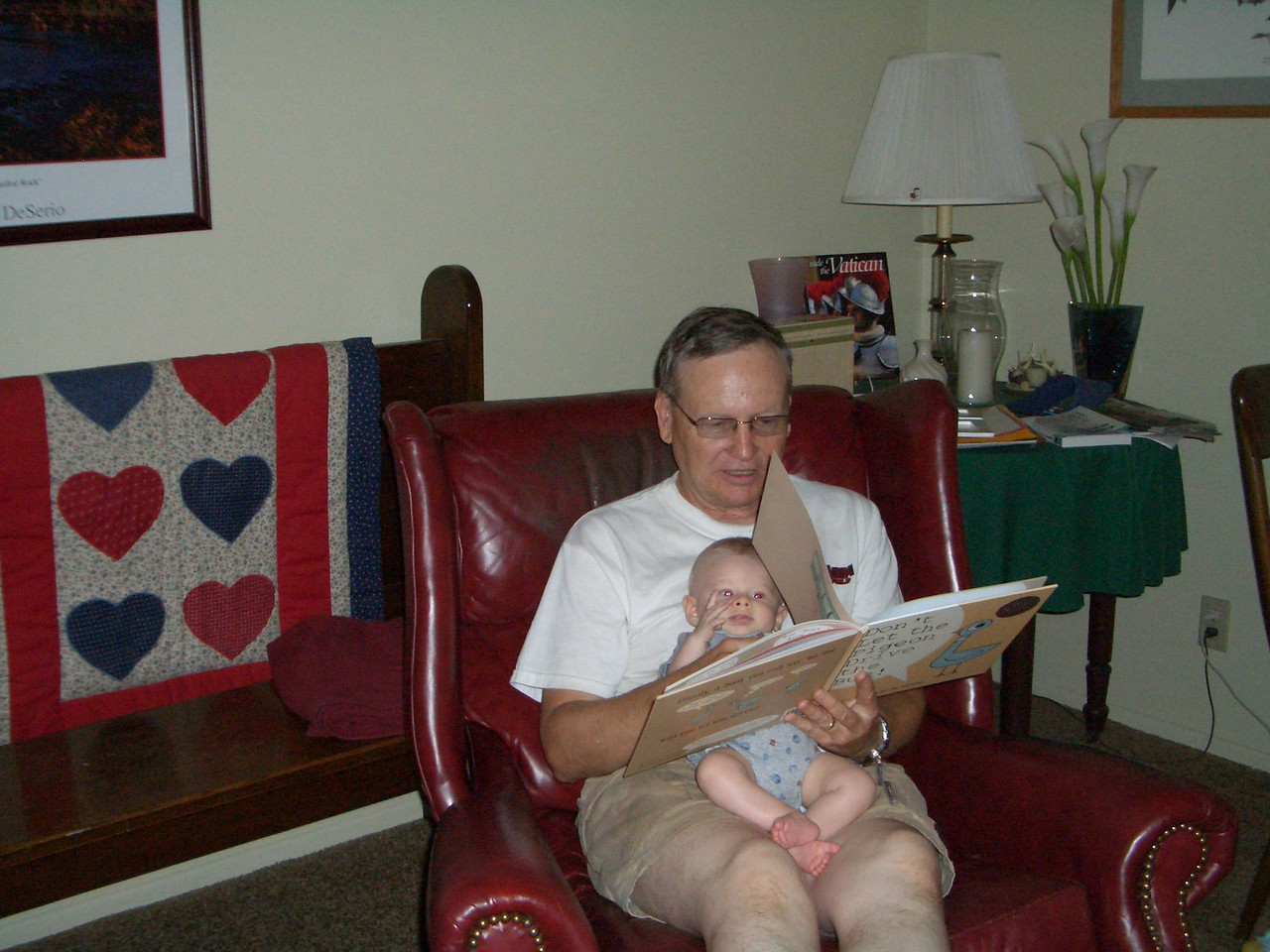 Grandpa Scott reading Don't Let the Pigeon Drive the Bus to Cody 8/7
