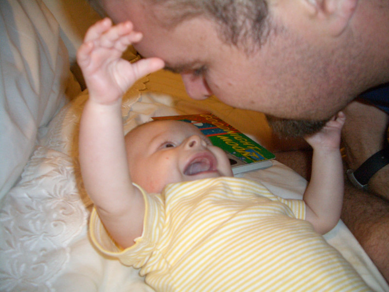Cody laughing at daddy when daddy said any word.