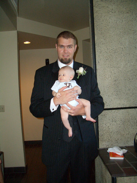 8/5 Cody with daddy in his tuxedo.