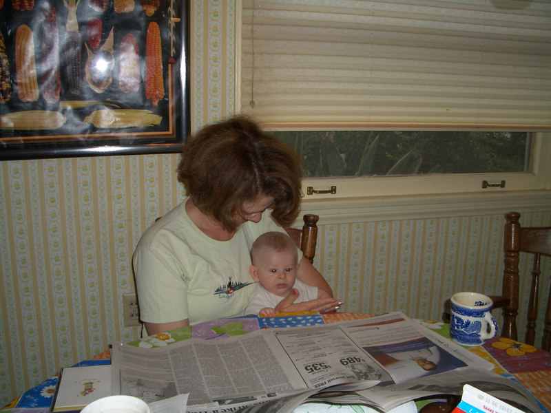 Grandma and Cody reading the newspaper 7/31