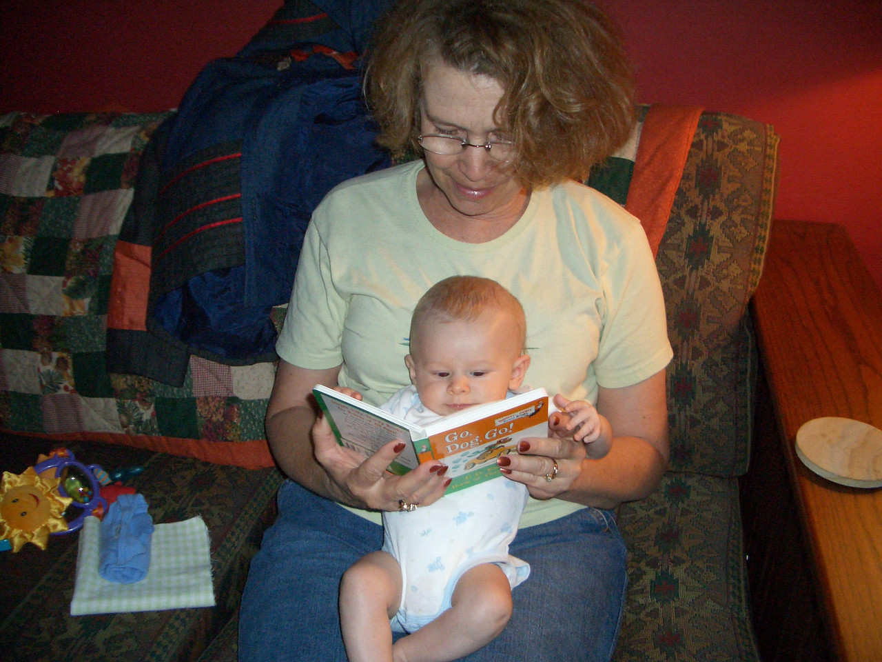 7/9 Grandma Jan reading to Cody.