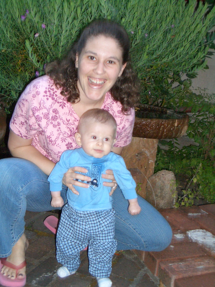 Mommy and Cody on the walk way in our private patio.