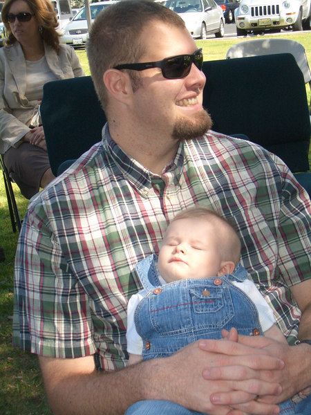 Cody taking a snooze at Cowboy Sunday. A church service that is held outside and people can come in their jeans. 10/8