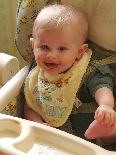 I like grabbing my foot in my high chair.