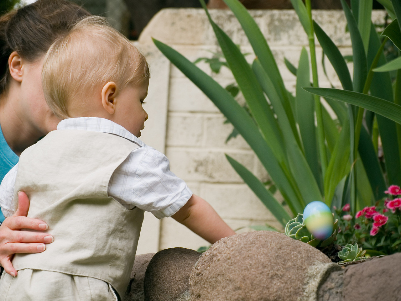Cody trying to figure out how to get the egg out of the plant.