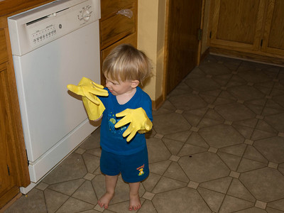 Cody found the dish gloves and is ready to get to work.