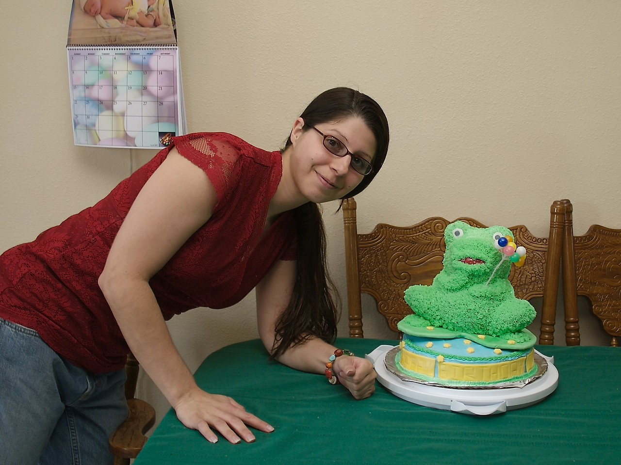 Marina and the cake she made for Cody's party.