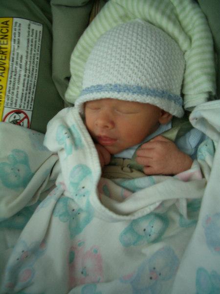 Cody sleeps in his carrier 4/7/06