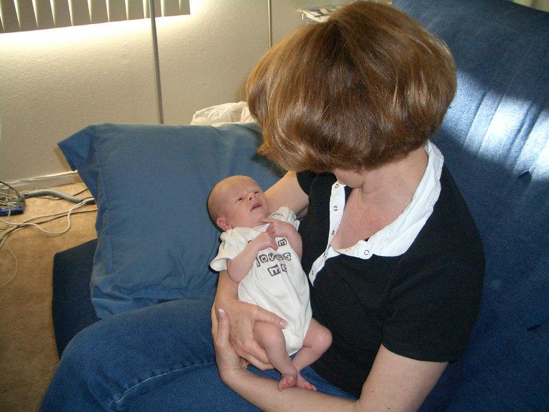 Grandma Jan comes down for a visit. Cody in his grandma loves me shirt