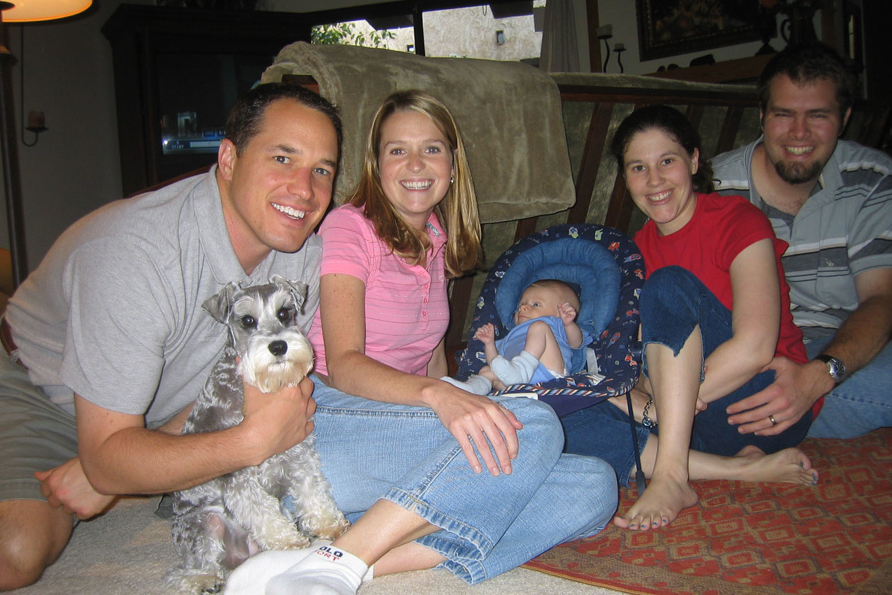 Brad, Sally, Milly the dog, Cody, mommy, and daddy on Memorial day. The dog was so good to Cody.