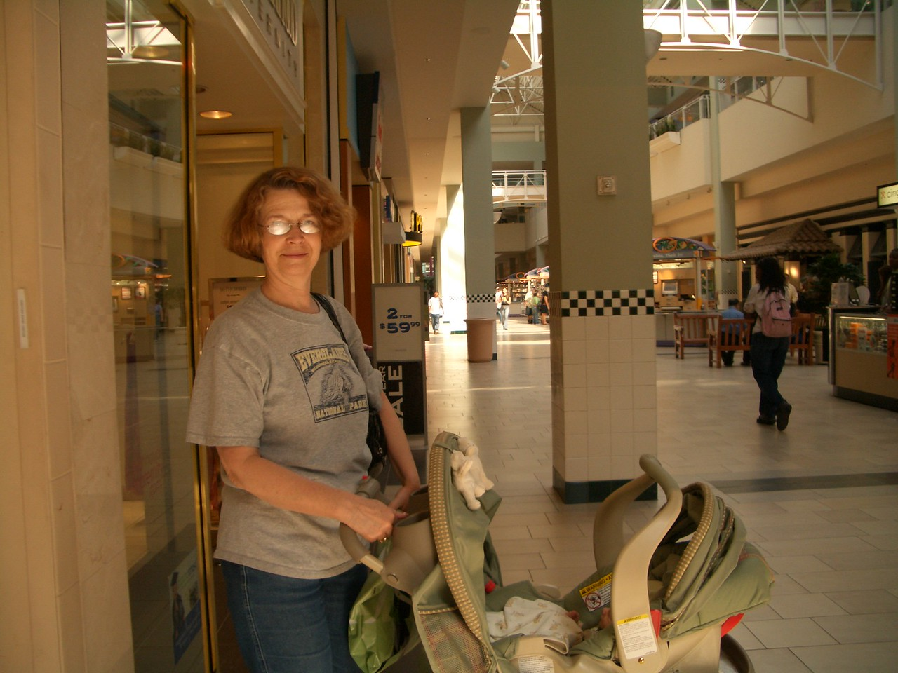 Grandma Jan at the mall with Cody