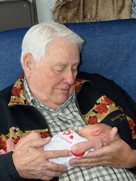 Great Grandpa Howard and Cody (1 week old)