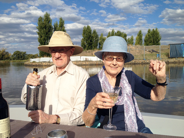 Colin Holmes and Enid Holmes on Lake Burley Griffith, 1st March 2018.