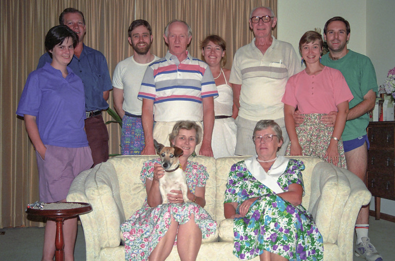 Christmas 1991. L-R rear: Kelly Holmes, Peter Holmes. Anthony Holmes, Colin Holmes, Sue Holmes, Charles Holmes, Allison Peacock (Holmes), Paul Peacock. L-R front: Toby (dog), Enid Holmes, Betty Holmes.