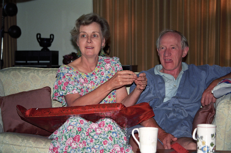 Enid Holmes an Colin Holmes, Christmas 1991, Mugga Way, Red Hill, Canberra.