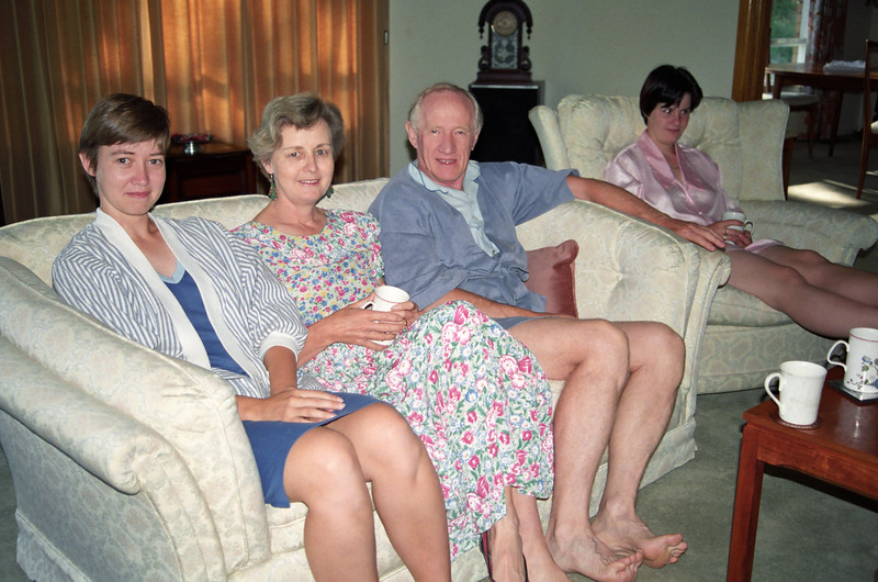 Allison Peacock (Holmes), Enid Holmes, Colin Holmes, Kelly Holmes. Christmas 1991, Mugga Way, Red Hill, Canberra.