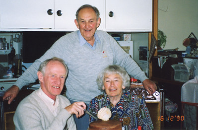 L-R: Colin Holmes, Bob Forsyth, Isabel (Billie) Forsyth, 16th December 1990.