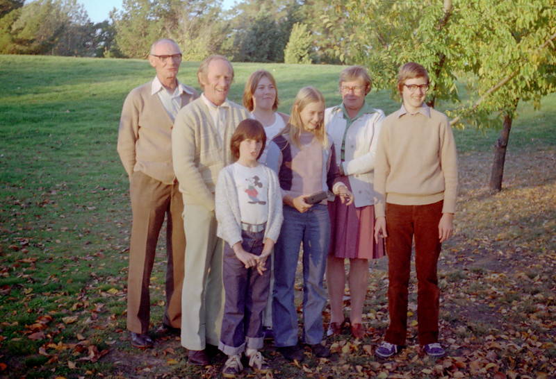 Charles Holmes, Colin Holmes, Kelly Holmes (front), Sue Holmes, Allison Holmes, Betty Holmes, Anthony Holmes. Melbourne May 1979.