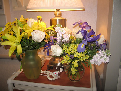 Flowers in the hospital from Grandma and Grandpa Muth and Sally's work friends.
