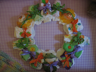 Aunt Amy made a diaper wreath for Colin.