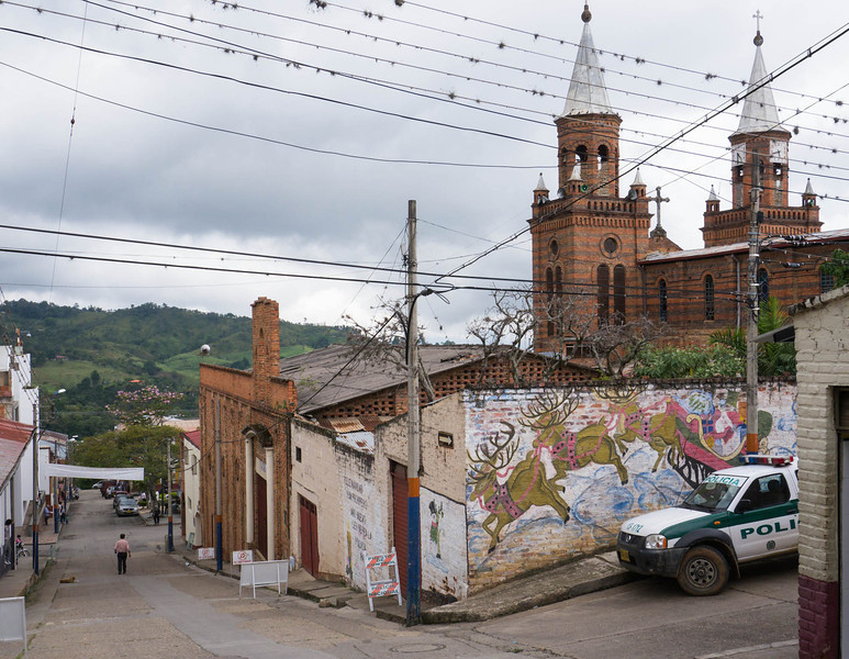 Near the center of Arbelaez, with the church