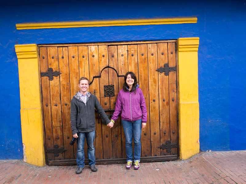 Great colors ... Walking in an old section of Bogota.