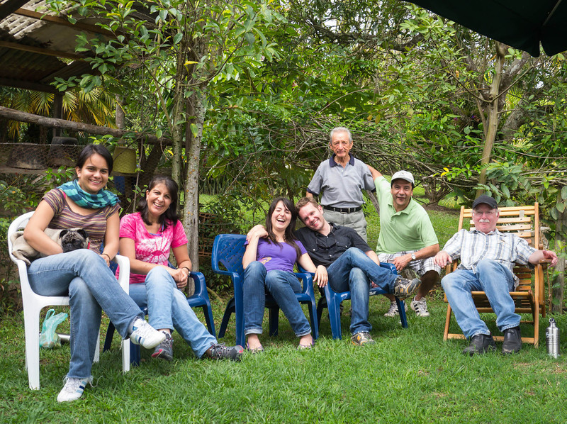 Lili's sister and mother, grandfather and father, in Arbelaez