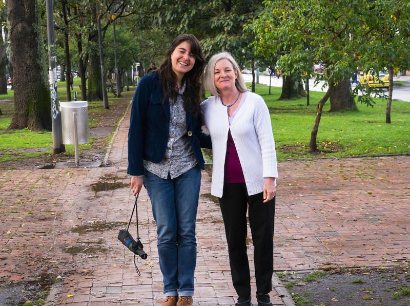 Lili and Sarah stroll in Bogota.