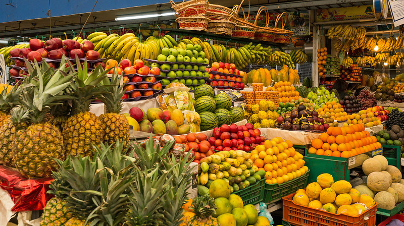 Fruit and fruit juices are everywhere!  This is a market in Bogota.