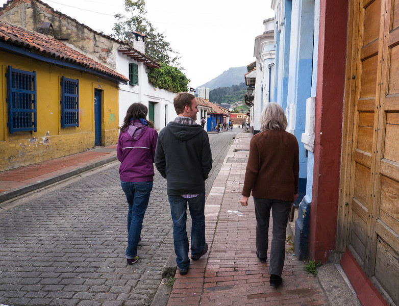 Walking in an old section of Bogota.