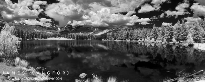 An Infrared shot of Sprague Lake.  The puffy clouds really helped to make the scene.