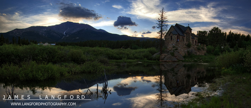 This beautiful chapel is just south of Estes Park.  I was hoping for a more colorful sunset, but this ended up being pretty nice anyway.