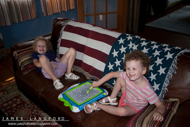 The girls were so happy to be out of the car.  They loved this neat couch.