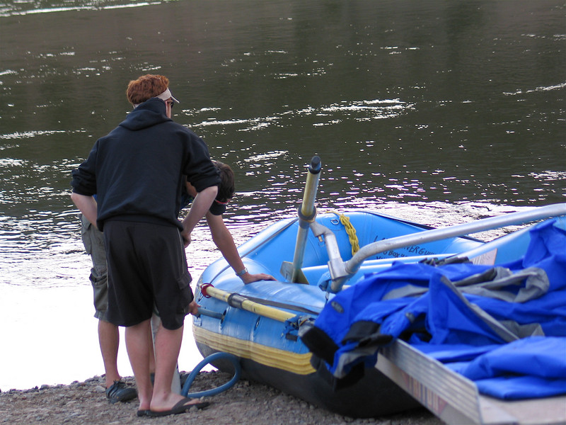 Paul and Chris of Lakota Guides getting the raft ready.