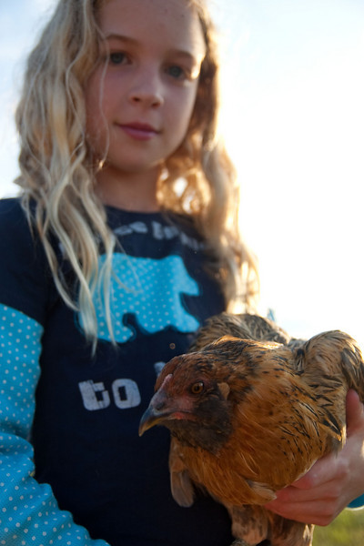 Lindsay, age 9, with chicken.