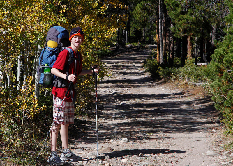 Hitting the trail near the South Fork of the Poudre River to hike up to get a view of the Mummy Range.